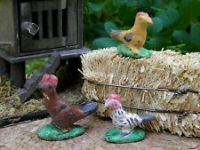 "Miniature Dollhouse FAIRY GARDEN ~ Set of 3 TINY ½/"" Scale ~ Gray Hen Chickens"