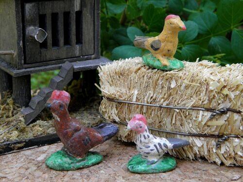 Miniature Dollhouse FAIRY GARDEN Accessories ~ Set of 3 Rustic Hen Chickens NEW