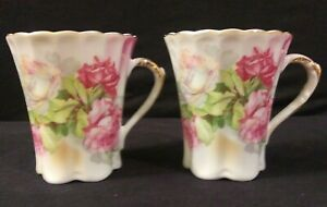 2-Vintage-Porcelain-Nippon-Marked-Chocolate-Cups-Pink-Roses-Gold-Trim