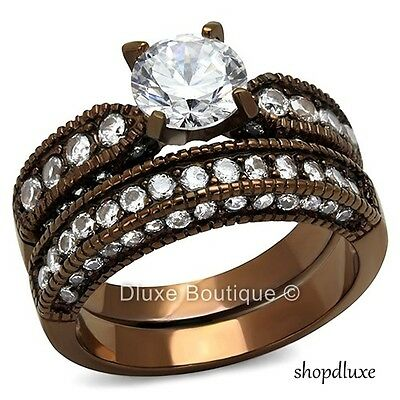 3.15 CT ROUND CUT CZ CHOCOLATE STAINLESS STEEL WEDDING RING SET WOMEN'S SZ 5-10