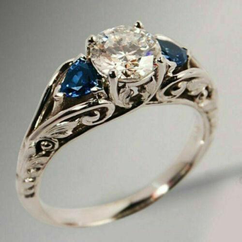 Sweet Schimmernder Damen Zirkonia Ring Schmuck Silber Farbe Verlobung Hochzeit