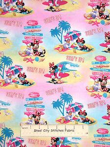 Disney-Minnie-Mouse-Daisy-Duck-Surf-Beach-Cotton-Fabric-Springs-CP53523-YARD