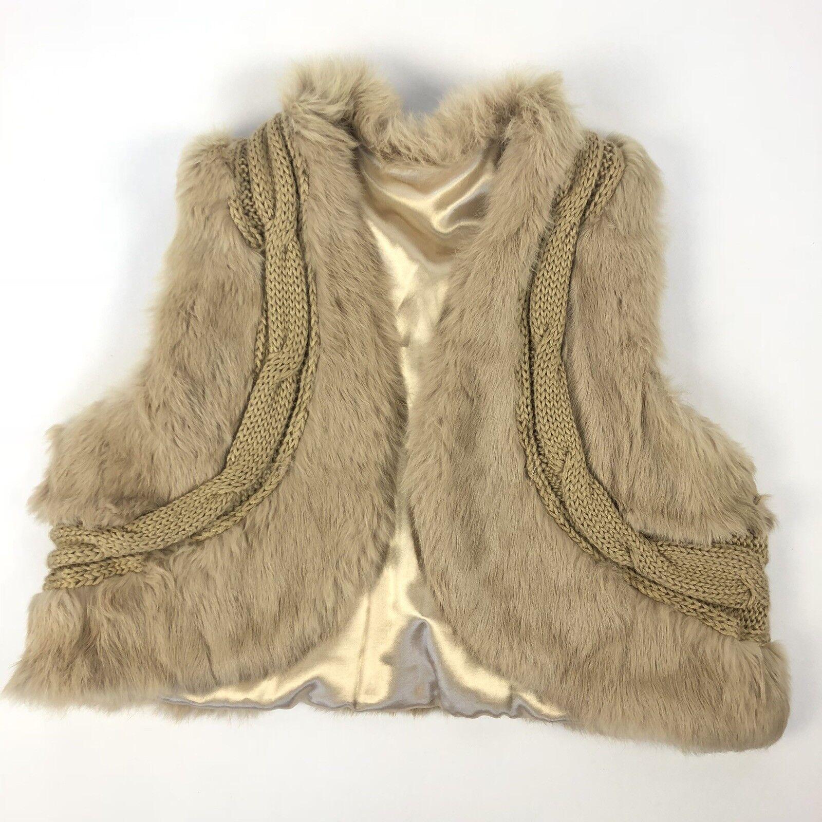 Adrianna Papell M L Tan Sweater Vest Rabbit Fur Trim Satin Lining Luxe