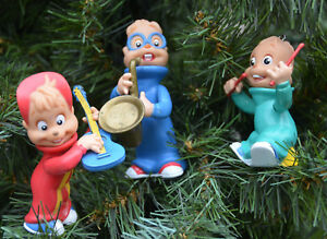 Vintage-Figure-ALVIN-SIMON-THEODORE-Christmas-Ornament-Custom-Lot-CHIPMUNKS-1991