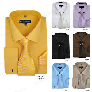 e499fefb3 New Men's French Cuff Dress Shirt + Matching Tie +Handkerchief ...