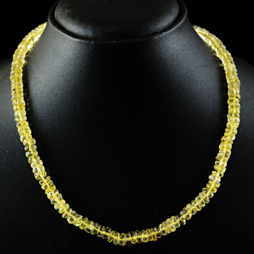 185.00 Cts Natural Untreated Yellow Topaz Round Beads Single Strand Necklace
