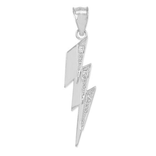 14k White Gold Thunderbolt Pendant Necklace with Diamonds