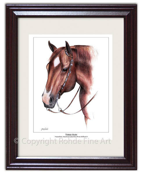 THREE BARS famous sire QUARTER HORSE influence FRAMED ART western painting WOW