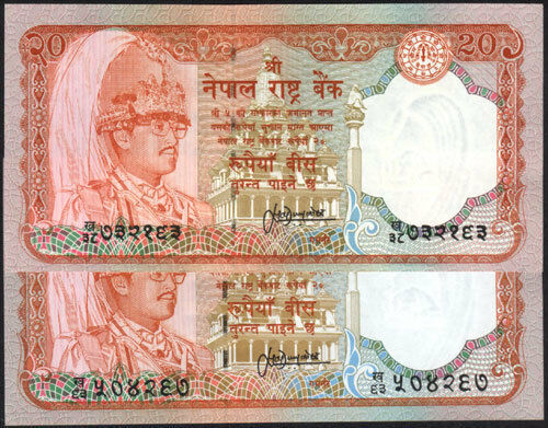 pick 38 sign 13 UNC NEPAL Rs 20 SERIAL number SMALL /& BIG letter printed 2 Pc