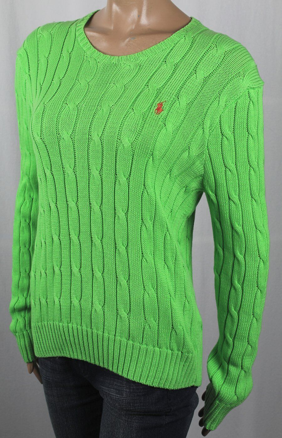 Ralph Lauren Grün Cable Knit Crewneck Sweater Orange Pony Mis-Marked NWT