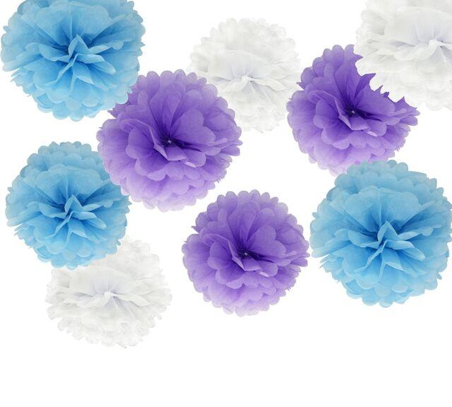 18PCS Mixed Purple Blue White Party Tissue Pom Poms Wedding Birthday