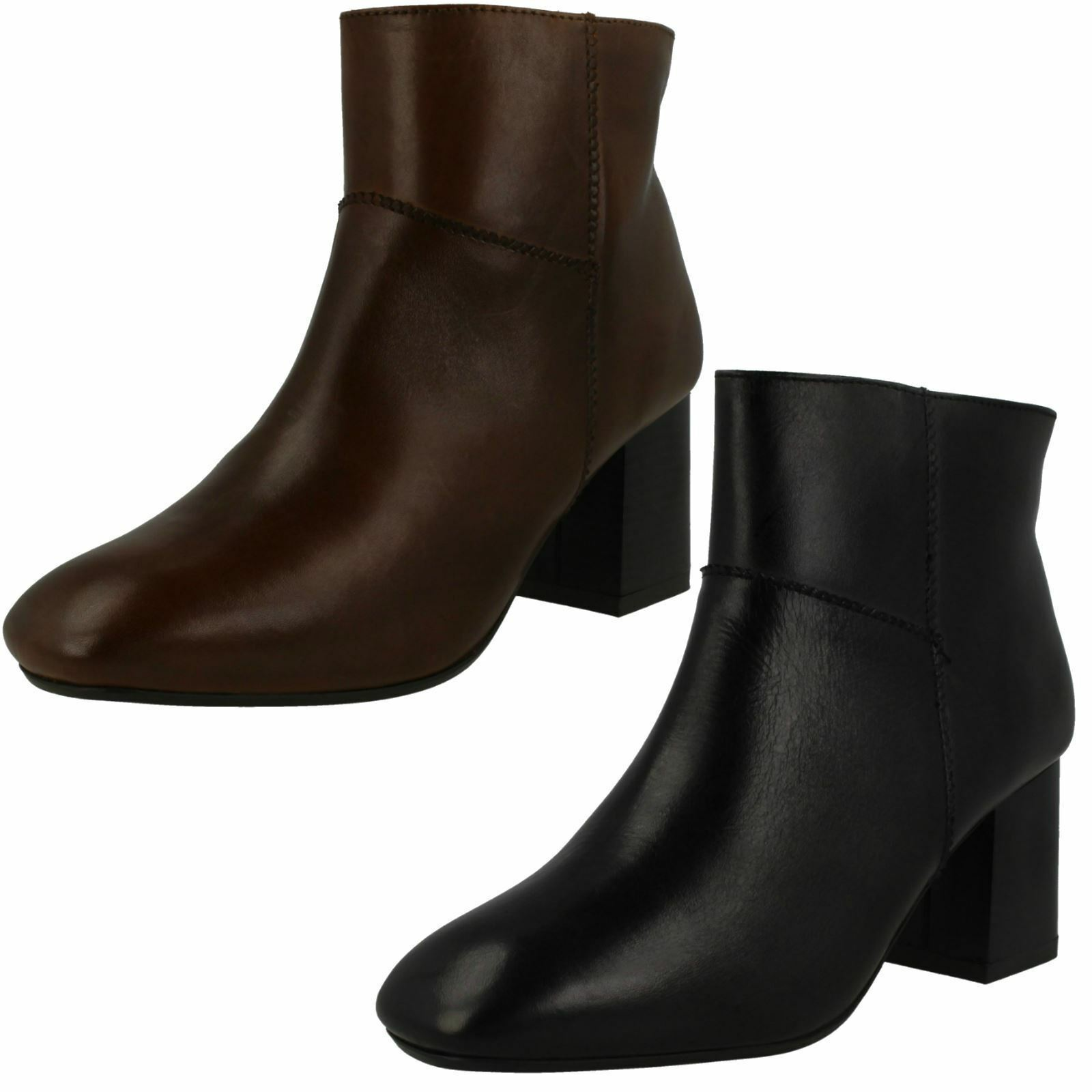 Ladies Black / Brown Leather Collection Ankle Boots F50656