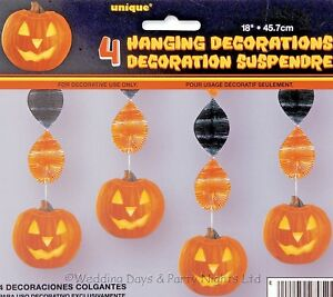 4 18 Sparkly Pumpkin Foil Hanging Swirls Cut Out Halloween Party