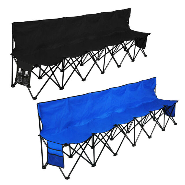 Remarkable Folding Chair Sports 6 Seat Sideline Portable Team Bench W Sidebag And Carry Bag Dailytribune Chair Design For Home Dailytribuneorg