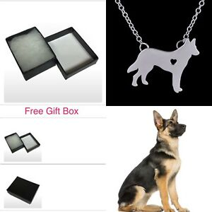 Genuine 925 Sterling Sp German Shepherd Dog Necklace Christmas Gift