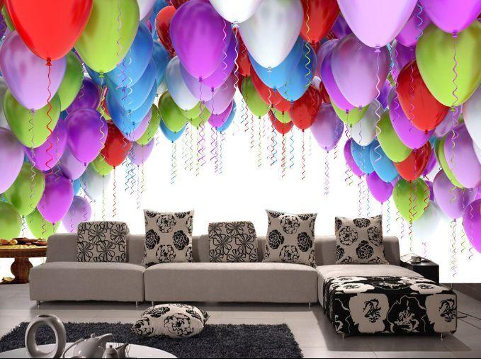 3D Viele farbige Luftballons Fototapeten Wandbild Fototapete BildTapete Familie