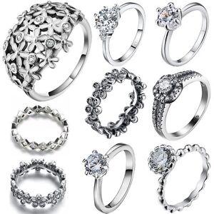 f271a25f6f1 Genuine Fine Design Silver Wedding Ring Size 6-9 Women Girls Brand ...
