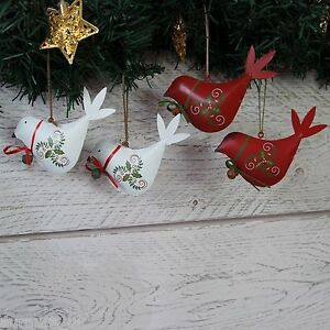 image is loading pair christmas decorations metal birds tin hanging red