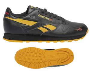 Incompetencia Saludo evaluar  Nuevo Reebok Cuero Clásico Retro Hombre Zapatillas Negro Amarillo Talla 9.5  | eBay