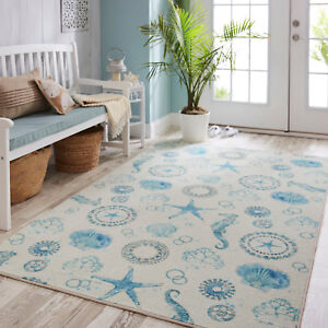 Seahorse Starfish Shell Nautical Coastal Blue Plush Area Rug Free Shipping Ebay