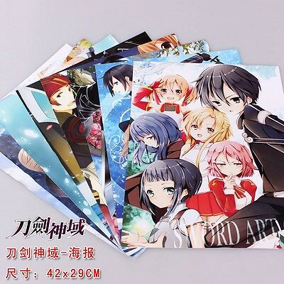 anime Sword Art Online SAO posters cartoon picture home wall decor 8pcs set
