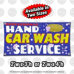 Details about HAND CAR WASH Banner Display Open Auto Shop Sign Suds Sponge  Pressure Washer Pro