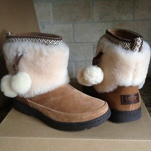 72d7f1ff93e Details about UGG Brie Chestnut Waterproof Suede Fur Cuff PomPom Mini Boots  Size US 11 Womens