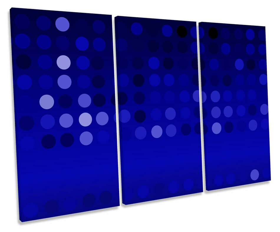 Abstract Blau Spots TREBLE CANVAS WALL ART Box Framed Picture