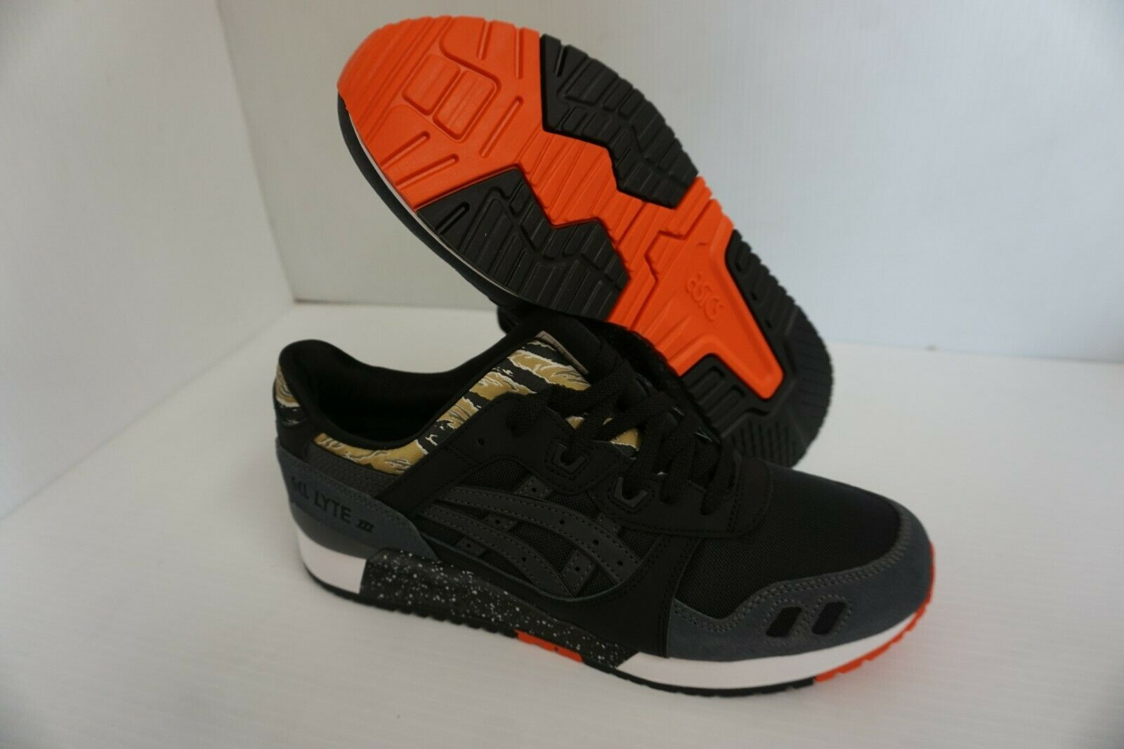 Asics mens gel lyte iii running shoes tiger black orange size 11 us