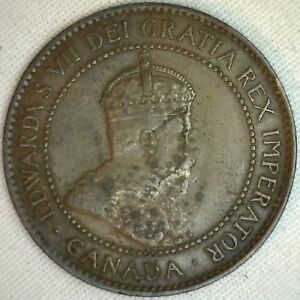 1907-Cuivre-Canadien-Grand-Cents-Piece-de-Monnaie-1-Cent-Canada-VG-K7