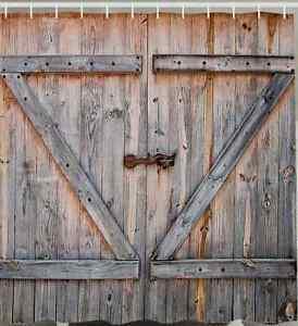 Image Is Loading Rustic Barn Door SHOWER CURTAIN Wood Plank Farm