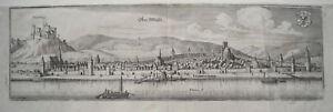 Oberwesel-Rhein-mit-Burg-Schoenberg-echter-alter-Merian-Kupferstich-1645
