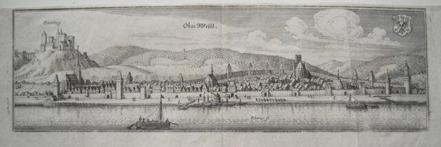 Oberwesel Rhein mit Burg Schönberg echter alter  Merian Kupferstich 1645