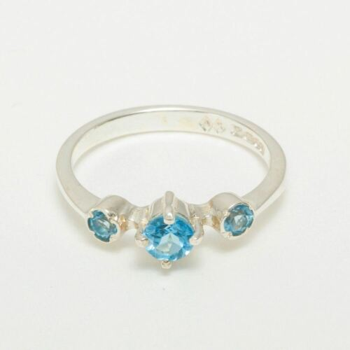 Details about  /925 Sterling Silver Natural Blue Topaz Womens Trilogy Ring Sizes J to Z