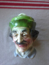FIGURAL TOBACCO JAR Humidor Old Man With Feathered Cap EXCELLENT Majolica Style