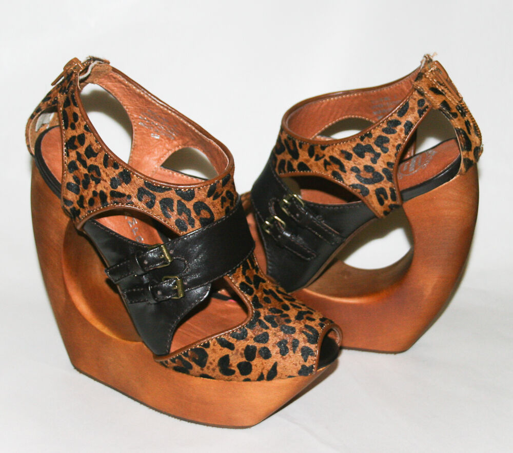 JEFFREY CAMPBELL ROCK ME CHEETAH PRINT BOOTIE SEXY HEELS SANDALS SHOES WEDGES