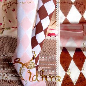 485b5b02594 Cute Lolita Knit Academ Diamond Check Over-Knee Thigh High Stocking ...