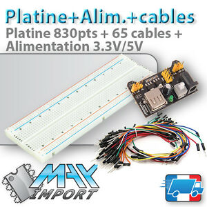 Pack-platine-d-039-essai-830-pts-Alimentation-MB-102-65-cables-Male-Male-Arduino