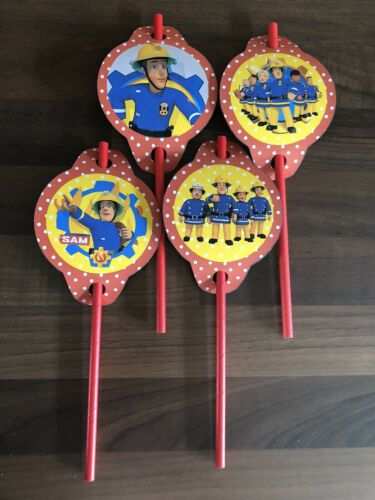 6 Fireman Sam Straws  And Toppers Party Bag Fillers Wedding