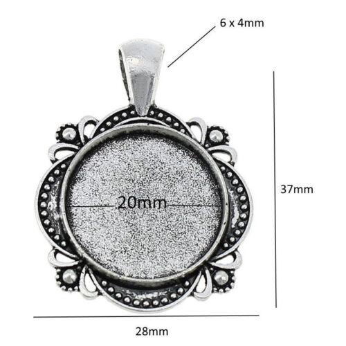 6 Fassungen für 20 mm Cabochon Medaillons Metallanhänger Kettenanhänger M498