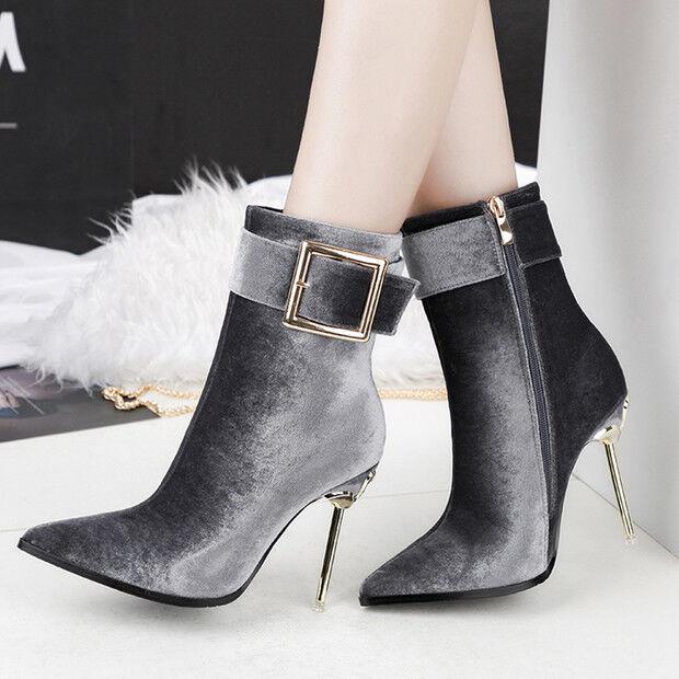 botas stivaletti bassi stiletto 11 11 11 cm caviglia grigi eleganti simil pelle 9547  estilo clásico