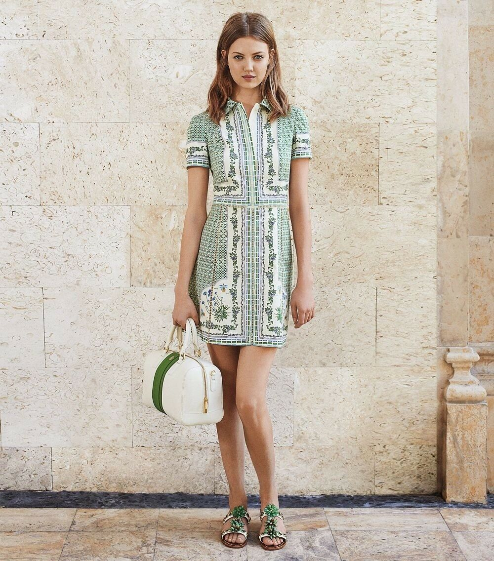 Tory Burch Talia Botanical Shirtdress RARE Floral Green Runway XS S Size 2