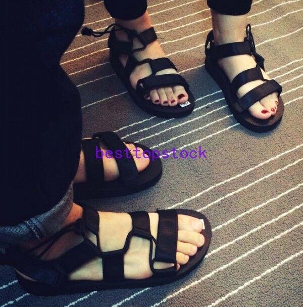 Men's Fashion Black Summer Sandals shoes Flats Korean Beach shoes Open Toe New