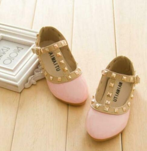 Kids Girls Gladiator Flat Walking Princess Shoe Rivet Studded Toddlers Sandals X