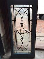 "Sg 884 Antique Textured Glass Beveled Center Window 16"" X 34.5"""