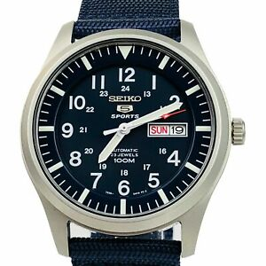 Seiko-5-Sports-Automatic-Military-Blue-Dial-Canvas-Mens-Watch-SNZG11K1-RRP-299