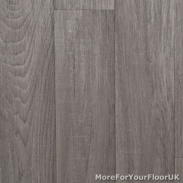 Mid Grey Wood Plank Vinyl Flooring, Slip Resistant Lino 4m Cushion Floor Kitchen