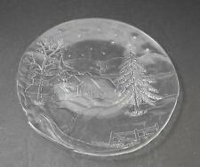 "Vintage Clear Glass Texture Snow Tree Town Fence Platter Plate About 12 3/4"" Y26"