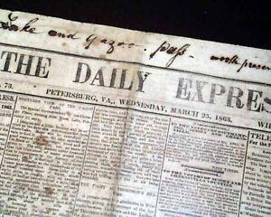 Rare-CONFEDERATE-Petersburg-VA-Virginia-1863-Original-Civil-War-Newspaper