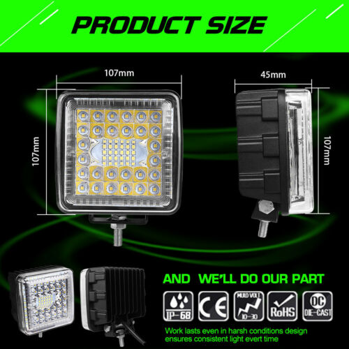 2PC 4 INCH Pods Light LED Light Bar Spot Flood Lamp Side Shooter Fog Lights